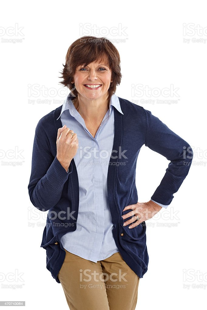 Excited Mature Woman With Clenched Fist Stock Photo -1112