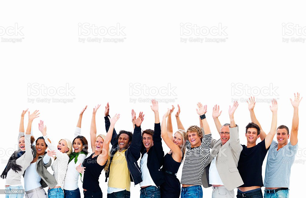 Excited men and women with arms raised royalty-free stock photo