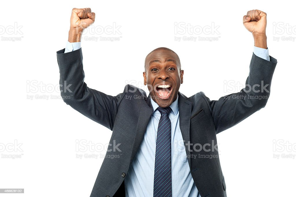 Excited middle aged male executive royalty-free stock photo