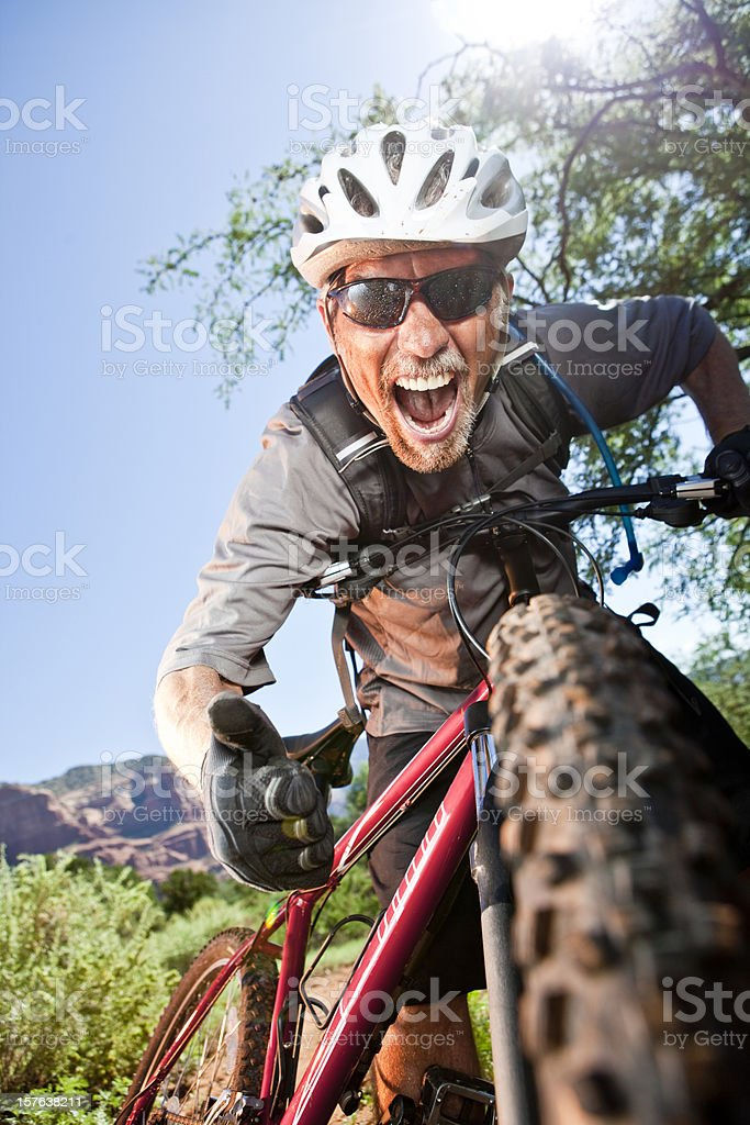 Excited Mountain Biker royalty-free stock photo