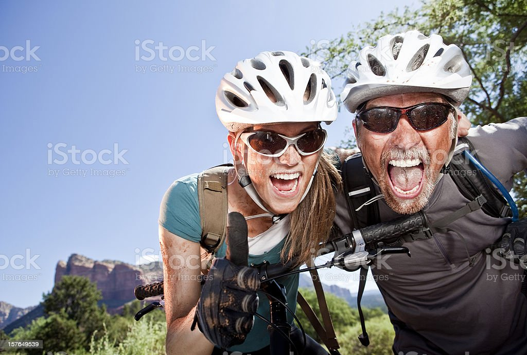 Excited Mountain Bikers royalty-free stock photo