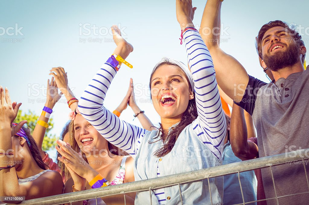 Excited music fans up the front - Royalty-free 18-19 Years Stock Photo
