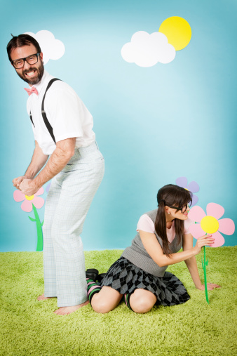 istock Excited Nerd Guy in Whimsical World With Nerdy Girl 185267432