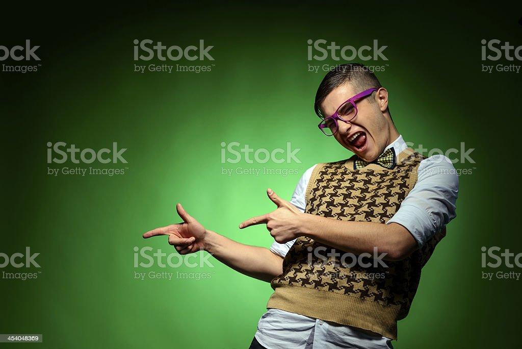 excited nerd man stock photo