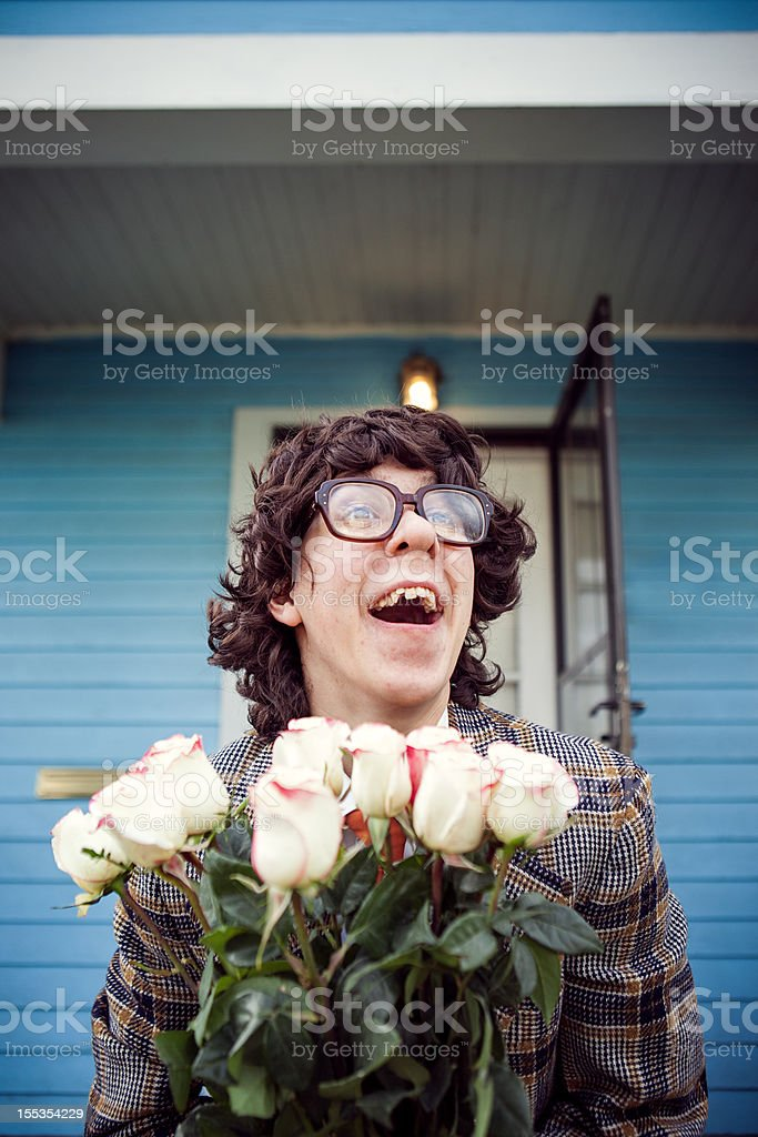 Excited Nerd with Flowers stock photo