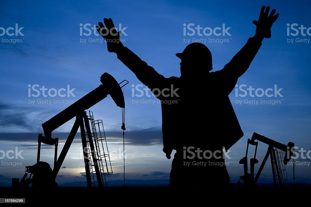 Excited Oil Worker royalty-free stock photo