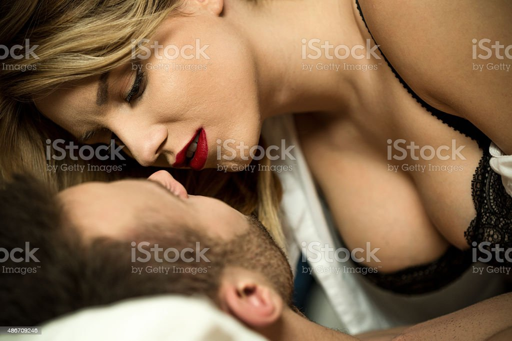 Excited pair of lovers stock photo