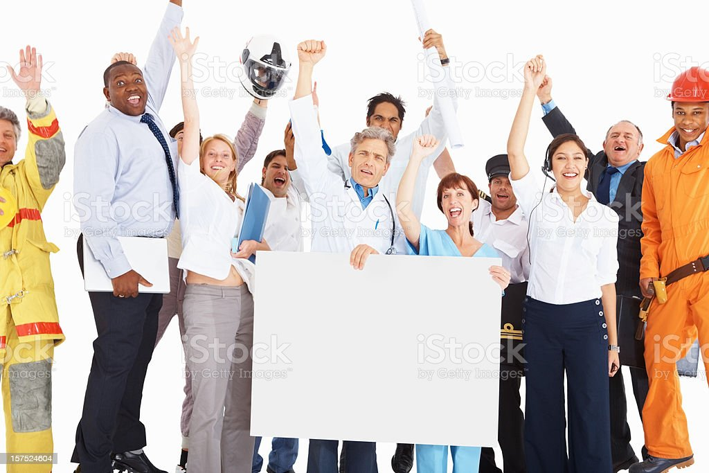 Excited people from respective jobs with empty board