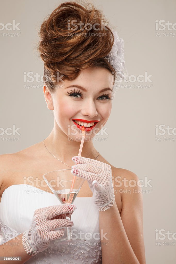Excited Pin-up girl stock photo