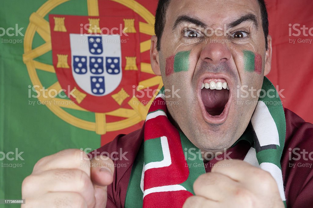 Excited Portugal soccer fan royalty-free stock photo