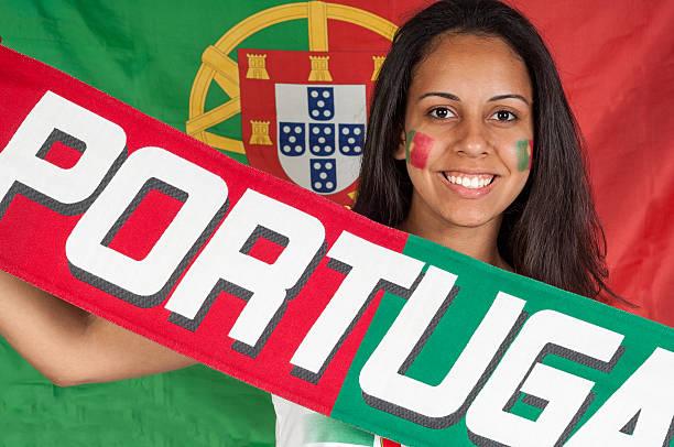 excited portuguese soccer fan - football portugal flag bildbanksfoton och bilder