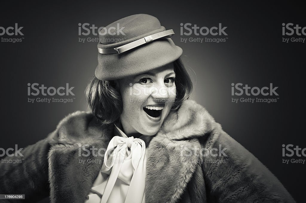 Excited Retro Girl royalty-free stock photo