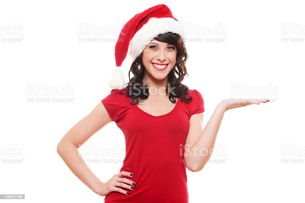 excited santa girl presenting stock photo