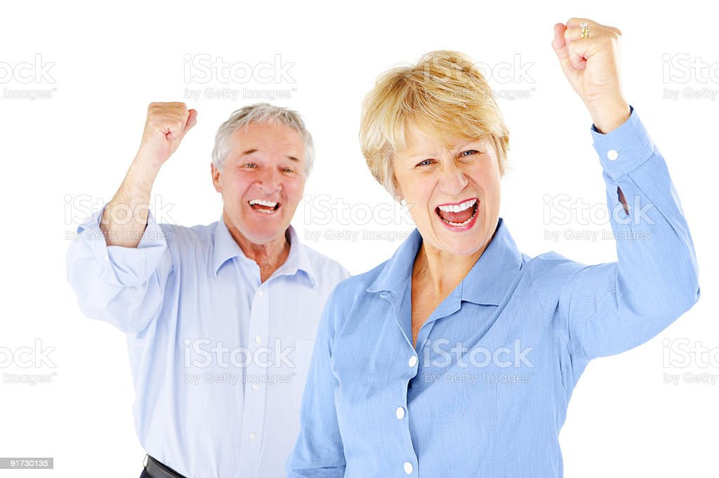 excited senior Business people cheering isolated on white background royalty-free stock photo