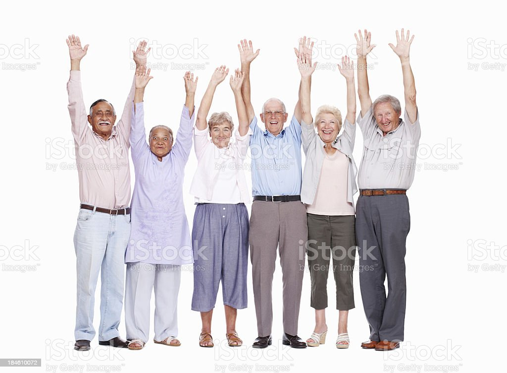 Excited seniors with hands raised royalty-free stock photo