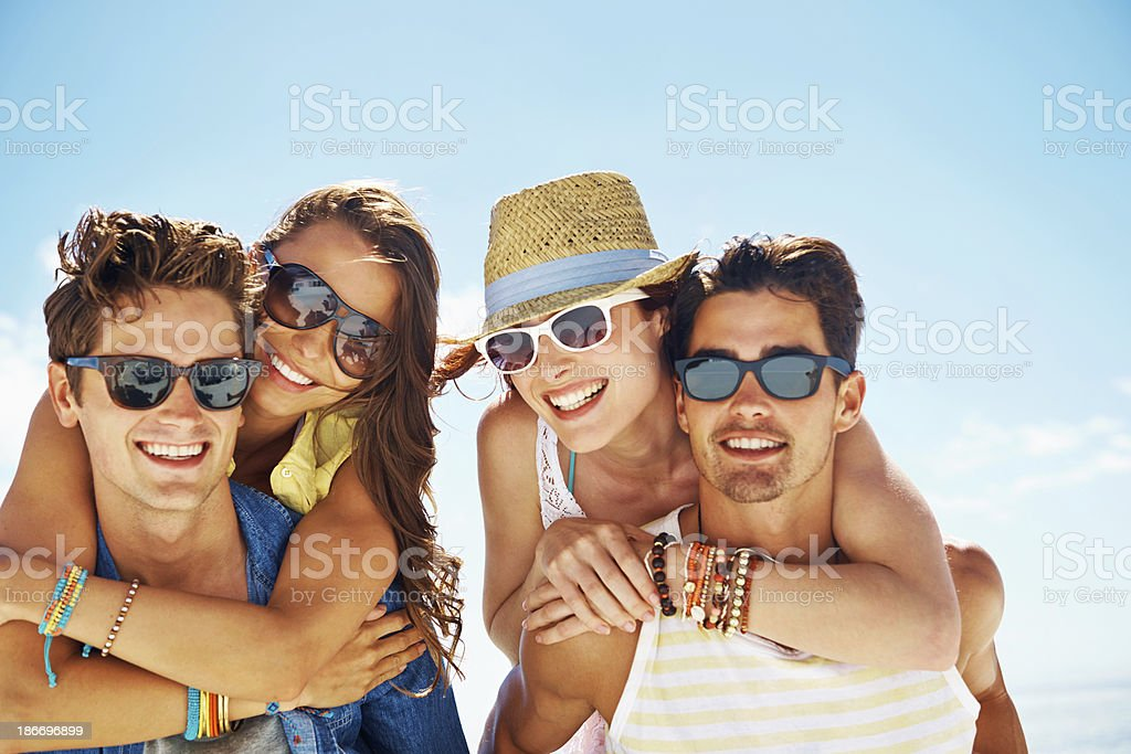 Excited springbreakers stock photo