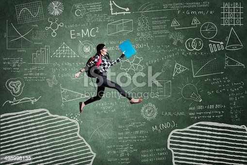 istock Excited student jumping on gap 498998135