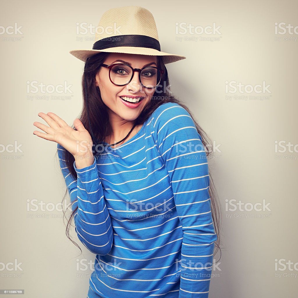 Excited surprising fun young woman in eye glasses stock photo