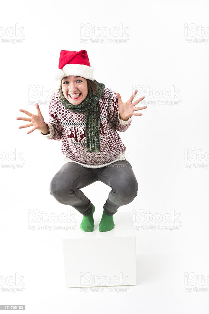 Excited Sweater Lady royalty-free stock photo