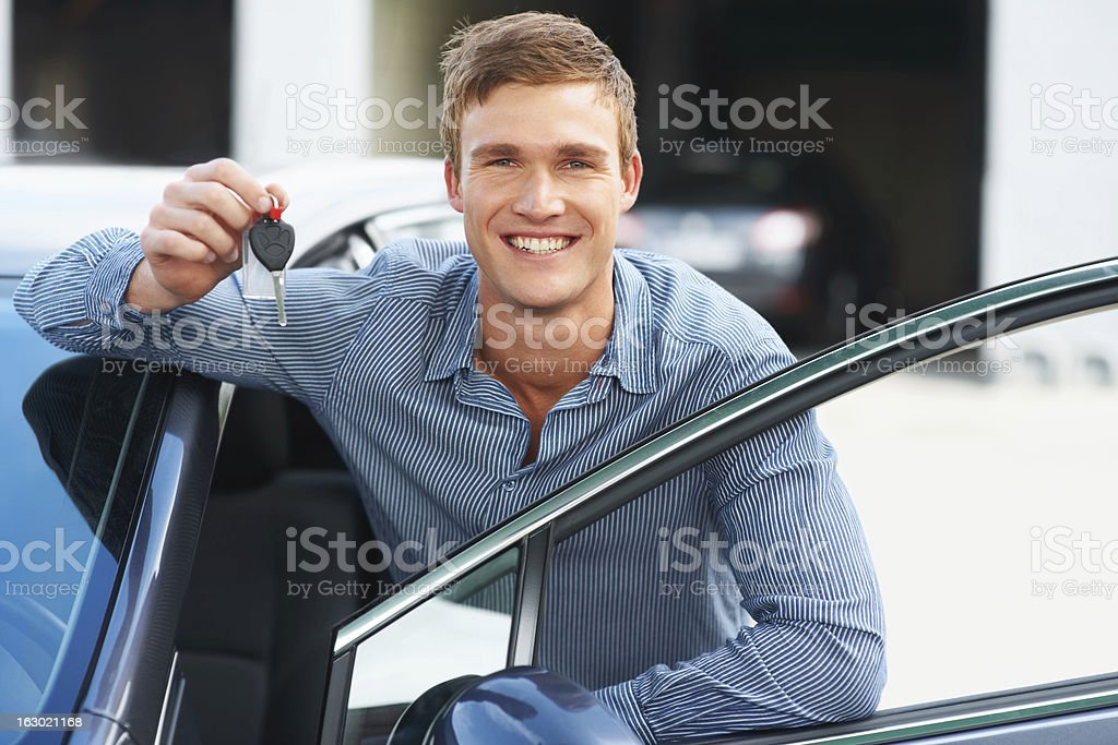 Excited to get his new wheels on the road royalty-free stock photo