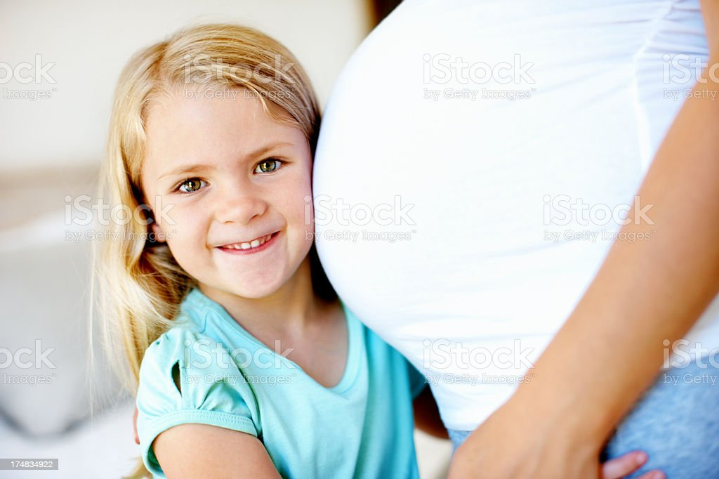 Excited to meet my new sister royalty-free stock photo