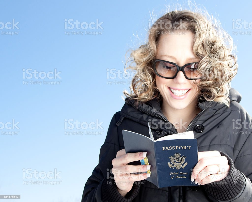 Excited Traveling woman royalty-free stock photo