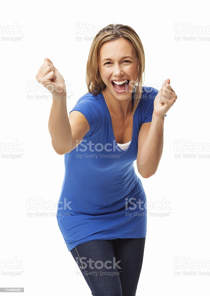 Excited Woman Cheering - Isolated stock photo
