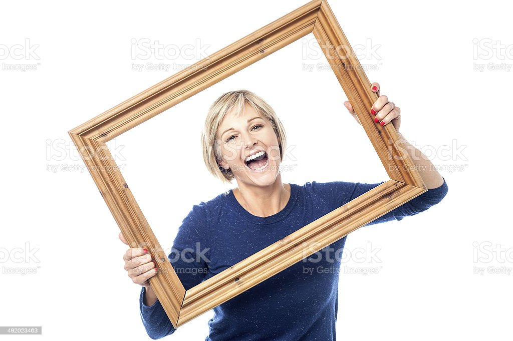 Excited woman enjoying, having a blast. stock photo