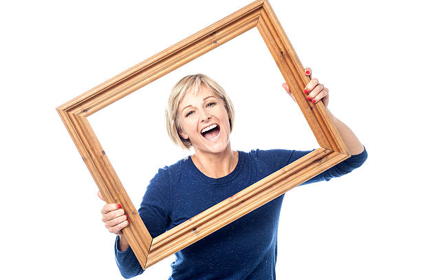 Excited woman enjoying, having a blast. stock photo