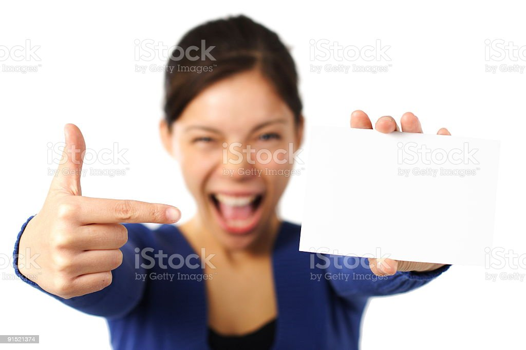 Excited woman holding blank card sign stock photo more pictures of excited woman holding blank card sign royalty free stock photo colourmoves