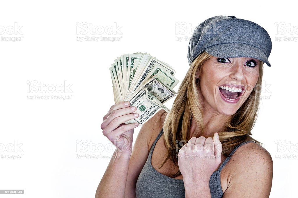 Excited woman holding cash royalty-free stock photo