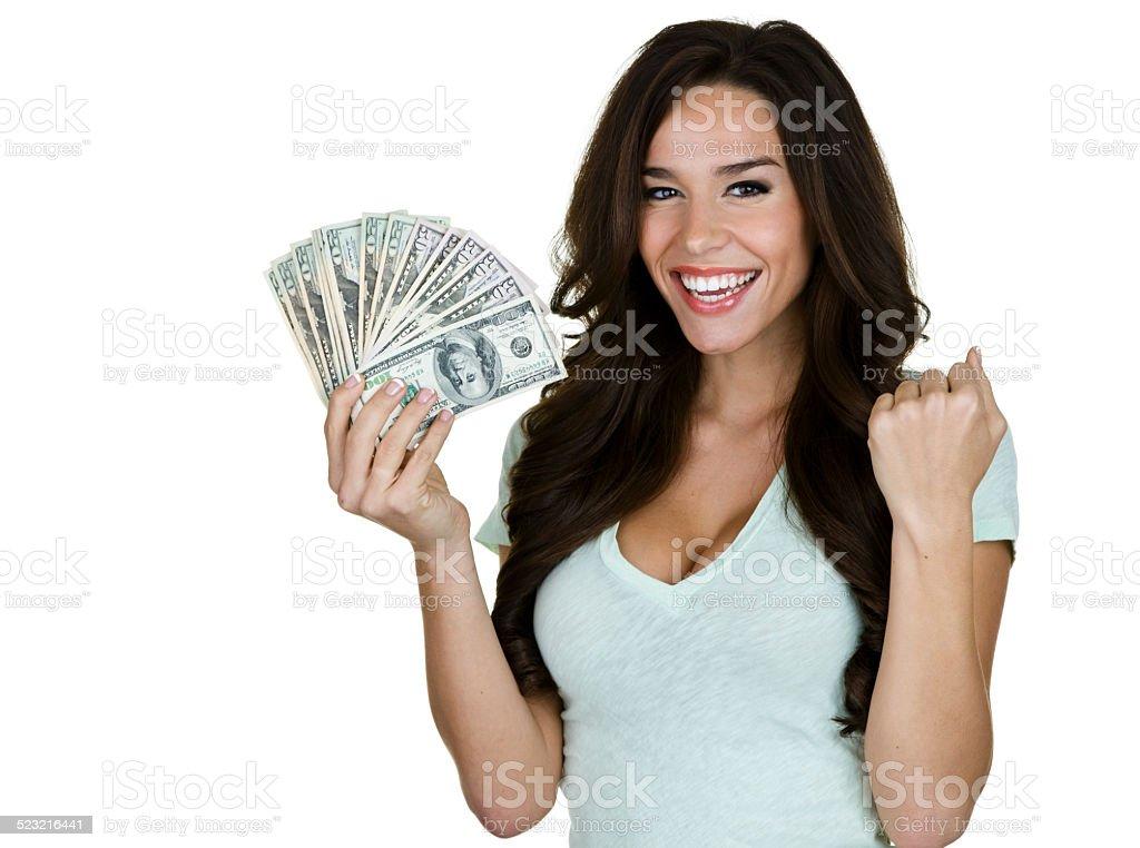 Aufgeregt Frau hält Geld – Foto