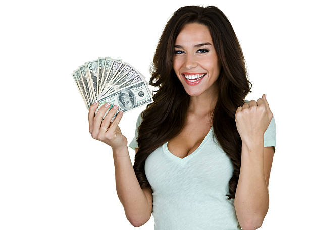 Royalty Free Woman Holding Money Pictures, Images and ...