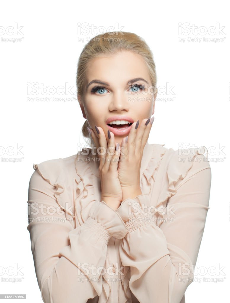 Excited woman isolated on white. Surprised girl, positive emotion