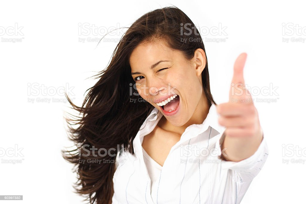 Excited woman pointing royalty-free stock photo