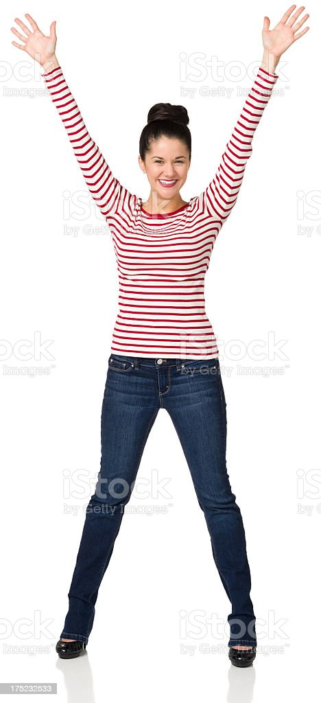 Excited Woman Standing With Arms Up royalty-free stock photo