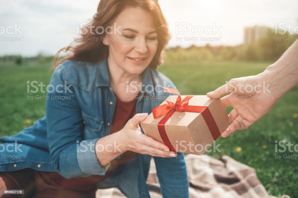 Excited woman taking gift from man outdoor It is for you. Surprised lady is receiving present from her husband. She is looking at it and smiling while relaxing on meadow. Focus on  wrapped box with ribbon in male hand Adult Stock Photo