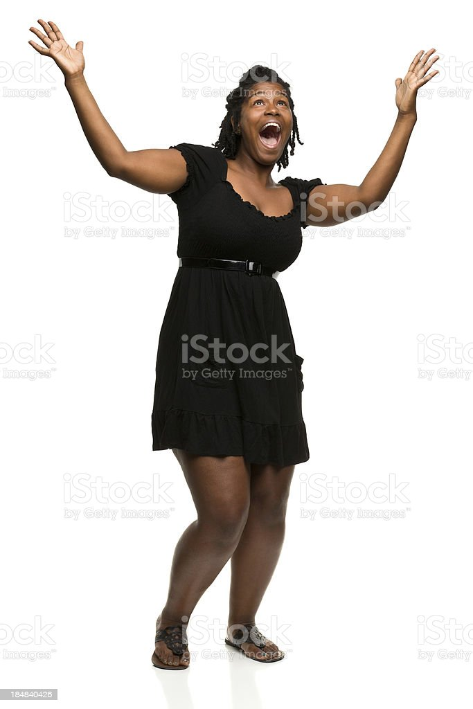 Excited Woman With Arms in Air royalty-free stock photo