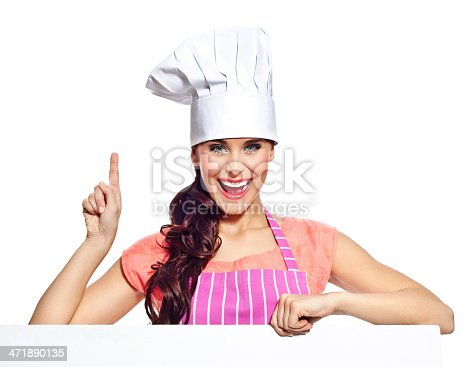 istock Excited woman with whiteboard 471890135