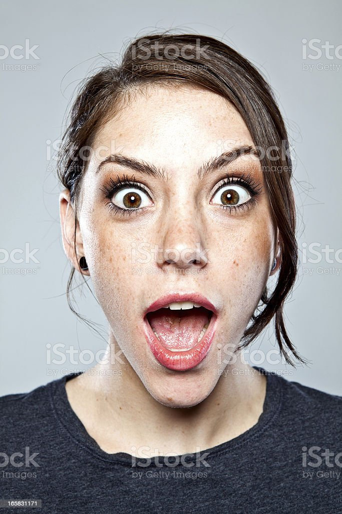 Excited young adult portrait. stock photo