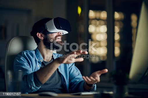 Man testing new app via VR device