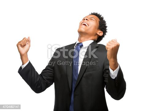 istock Excited young business man holding up hands 470480141