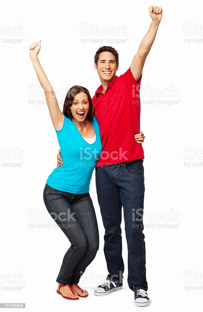 Excited Young Couple - Isolated royalty-free stock photo