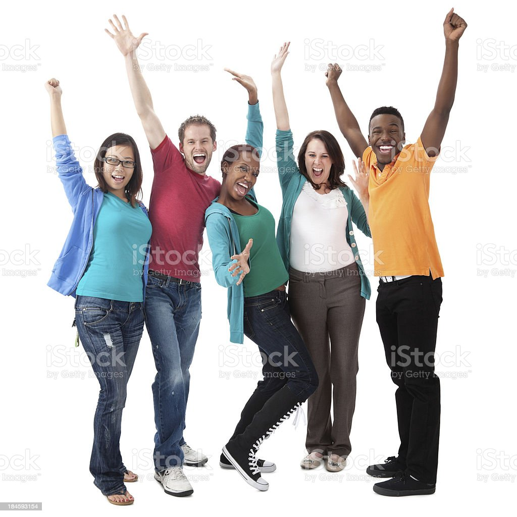Excited young group with hands in the air royalty-free stock photo
