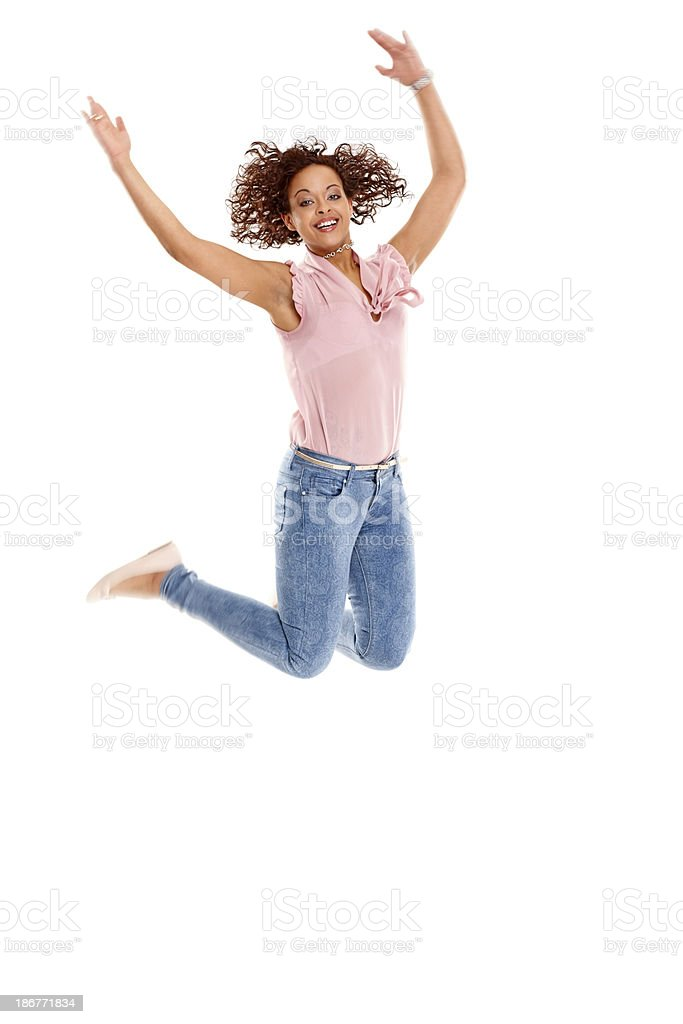 Excited young jumping in air royalty-free stock photo