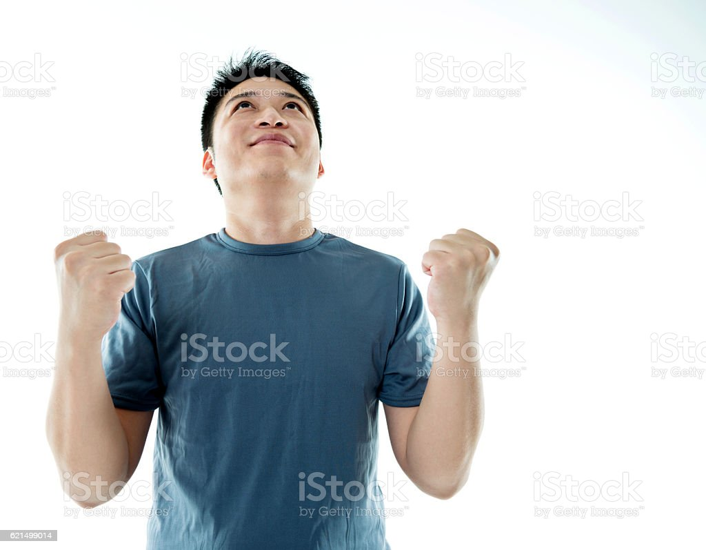 Aufgeregt junger Mann Jubel Lizenzfreies stock-foto