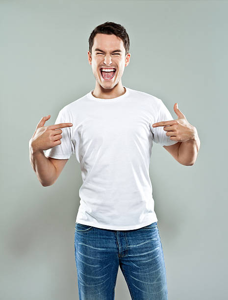 Excited young man stock photo