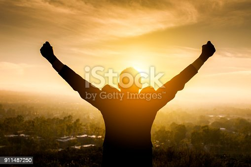istock Excited Young Man Raising Arms 911487250