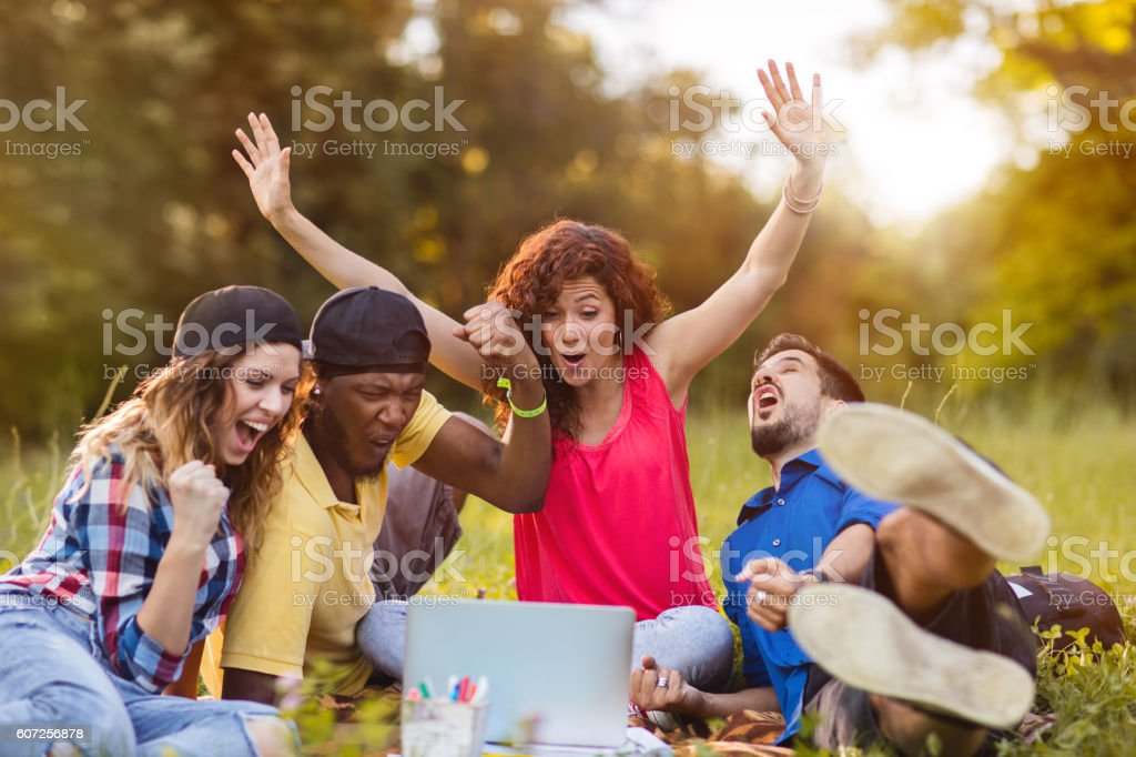 Excited young people using laptop in nature and celebrating. stock photo
