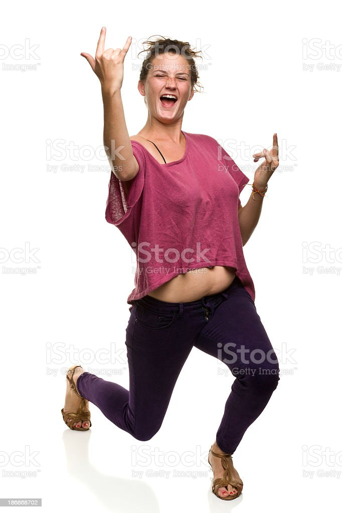 Excited Young Woman Gesturing royalty-free stock photo